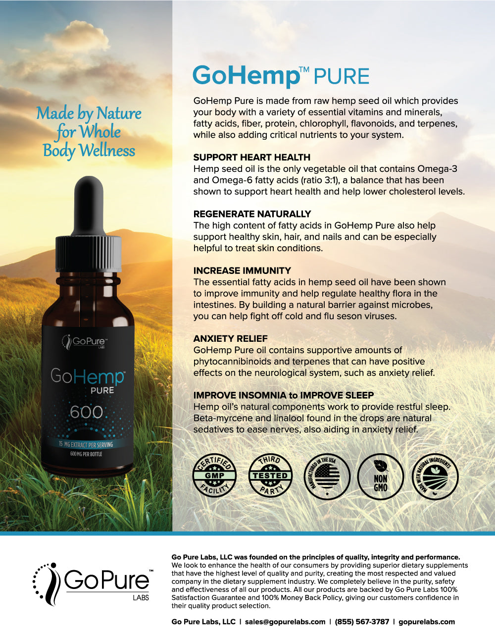 Go Pure GoHemp 600 MG CO2 Hemp Extract - 2 Ounce
