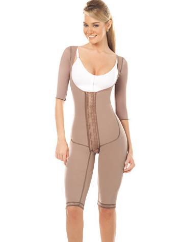 Post Op Knee Length Body Girdle with Sleeves #11172