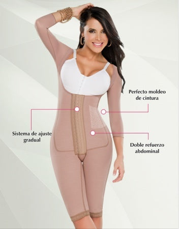 All Day Wear - Full Body Girdle W/ Front Panel And Knee Length By Diseños D' Prada #10175