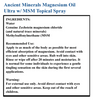 Magnesium Oil Ultra Ingredients and Recommended Use
