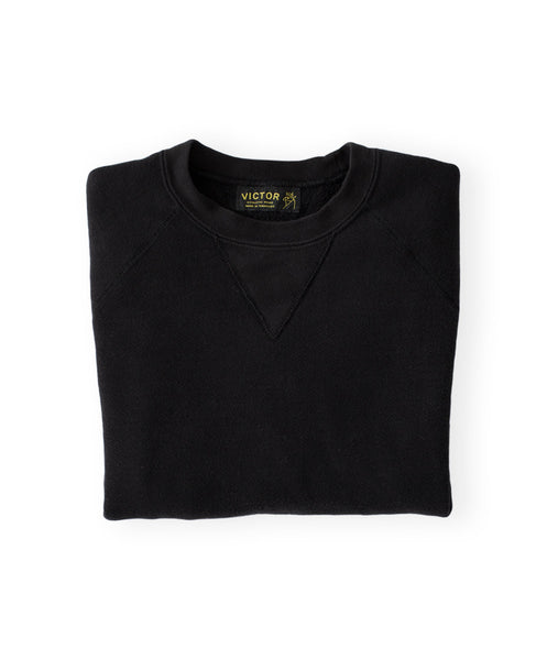 Men's Black Organic Crewneck Sweatshirt by Victor Athletics
