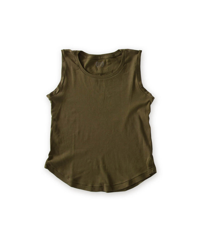 Women's Olive Green Organic Tank Top - Victor Athletics