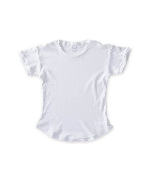 Women's White Organic Scallop Tee - Victor Athletics