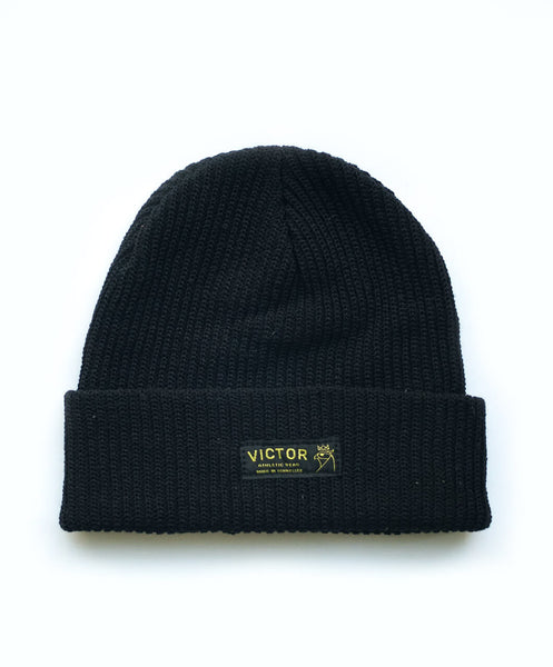 Victor Athletics Black Organic Beanie