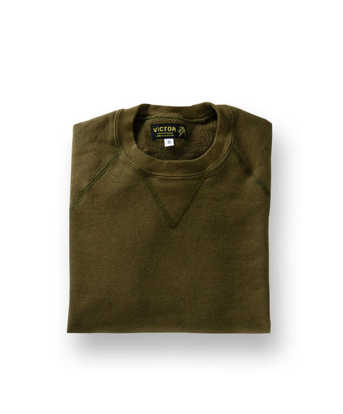 Men's Organic Crewneck Sweatshirt by Victor Athletics - Olive Green