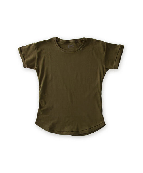 Women's Organic Olive Green Scallop Tee Shirt - Victor Athletics
