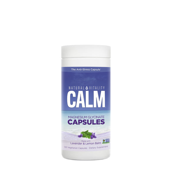 Natural Vitality Calm Magnesium Glycinate With Lavender & Lemon Balm Capsules - 60 Count