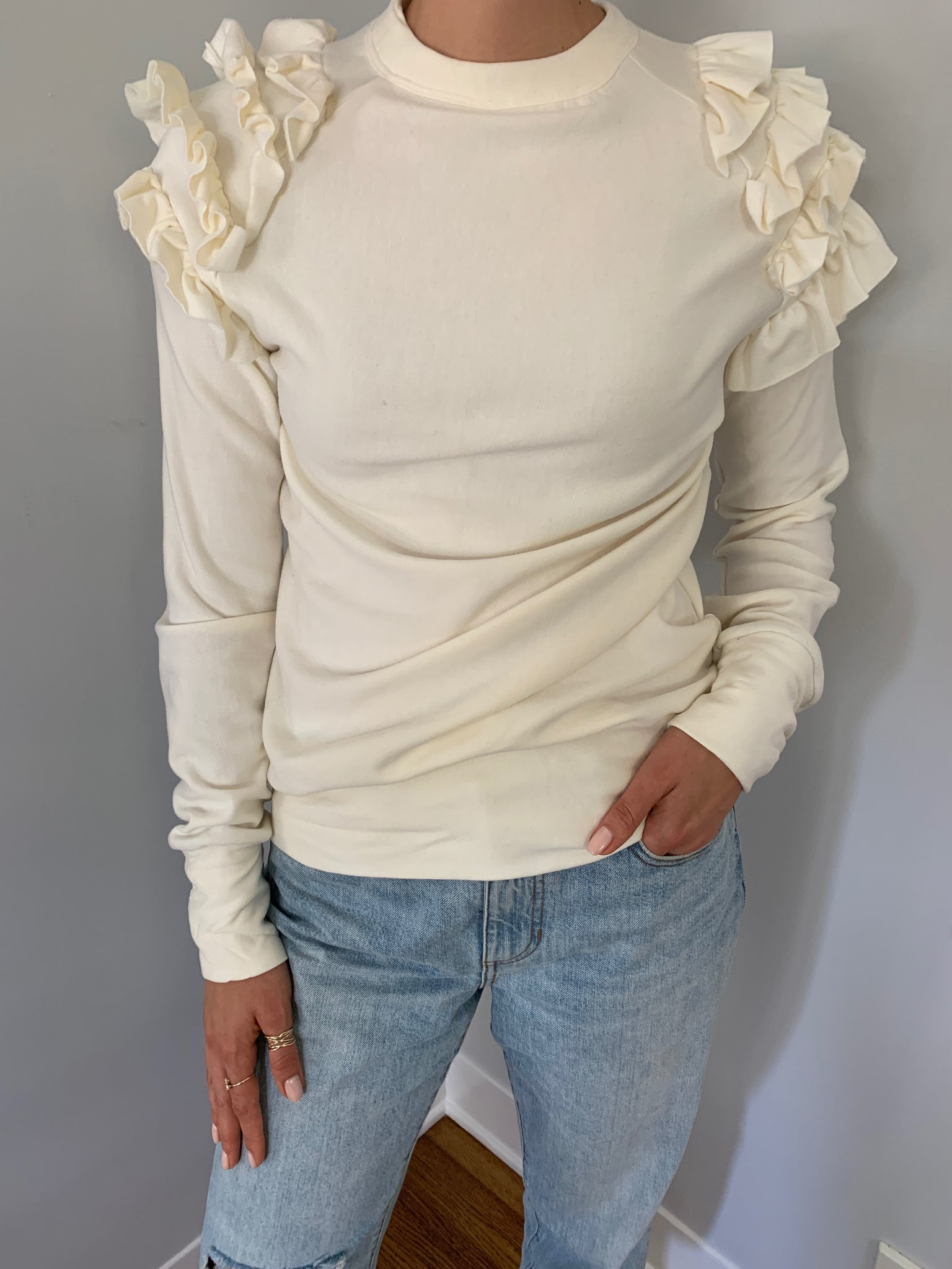 Ruffle Shoulder Sweatshirt