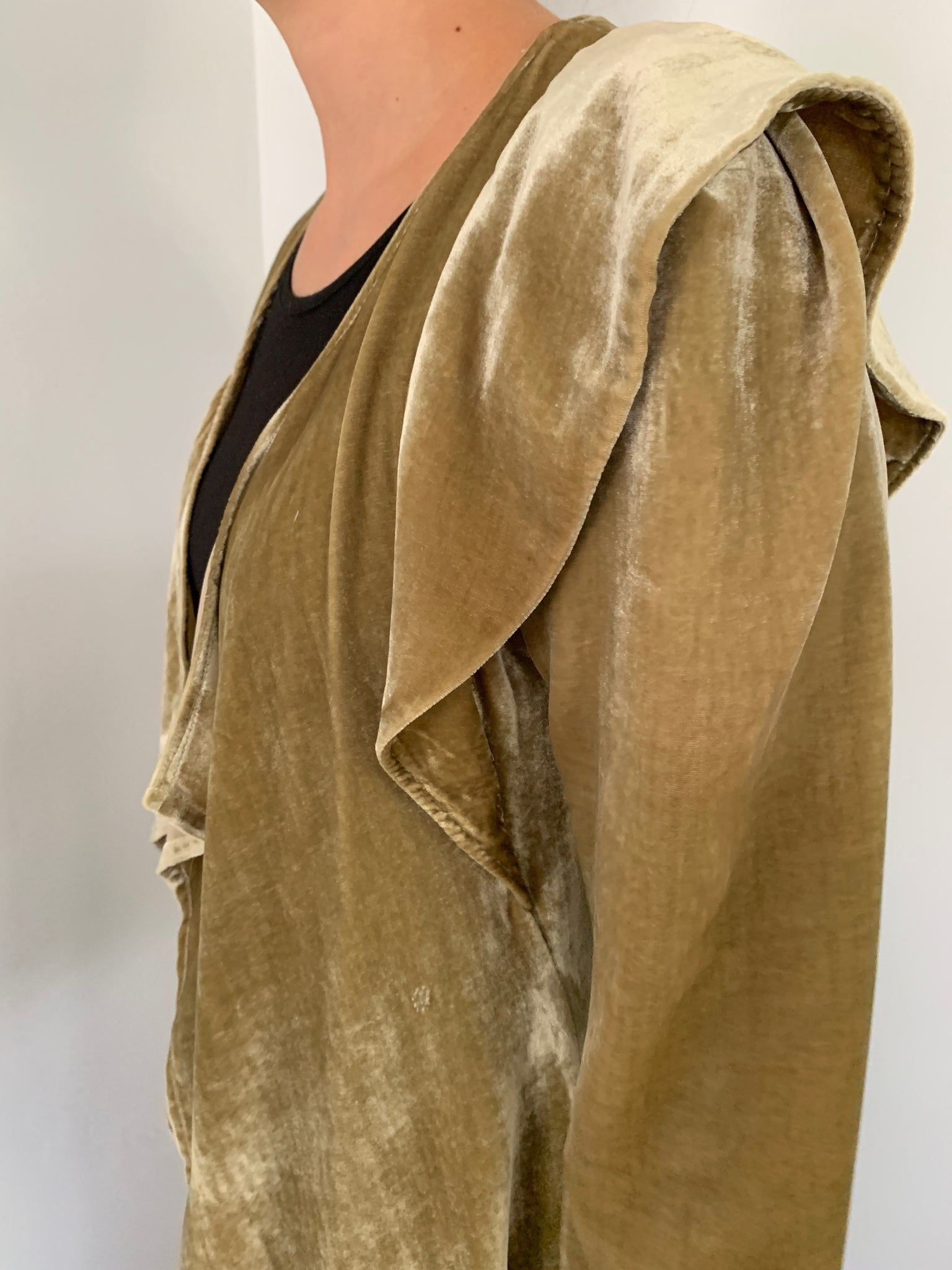 Silk Velvet Draped Duster