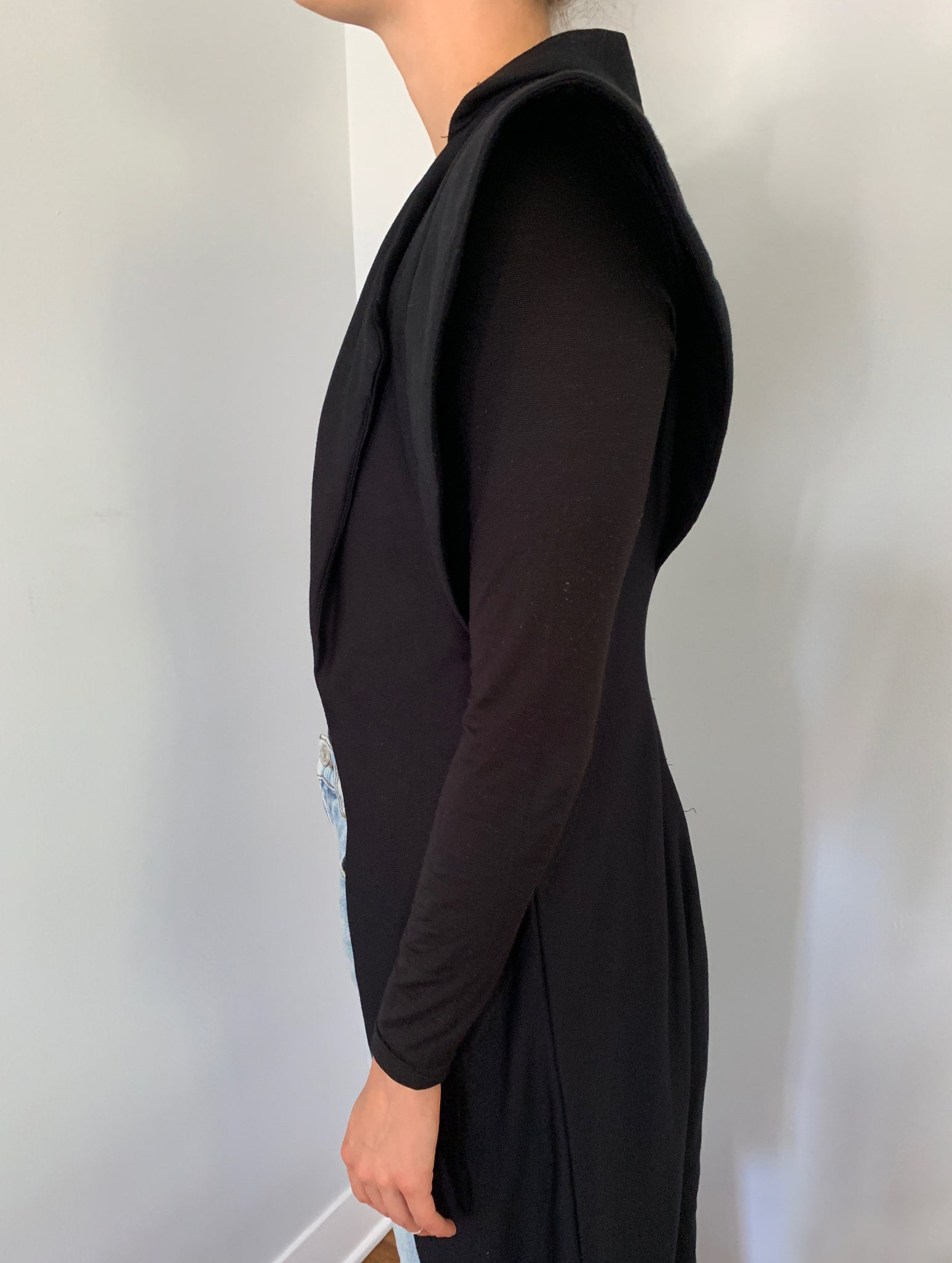 Cuffed Shoulder Long Duster