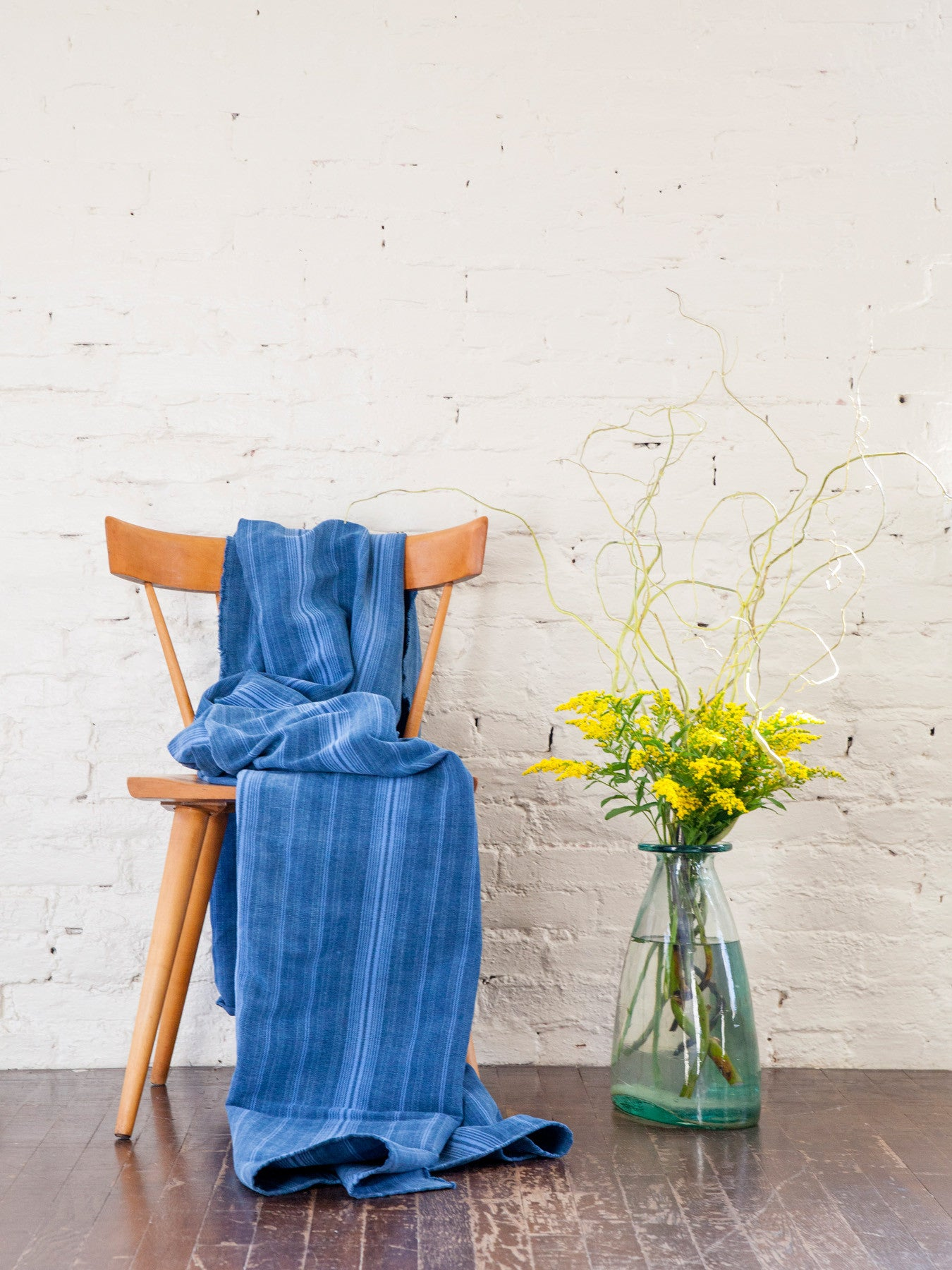 Indigo Striped Throw Blanket