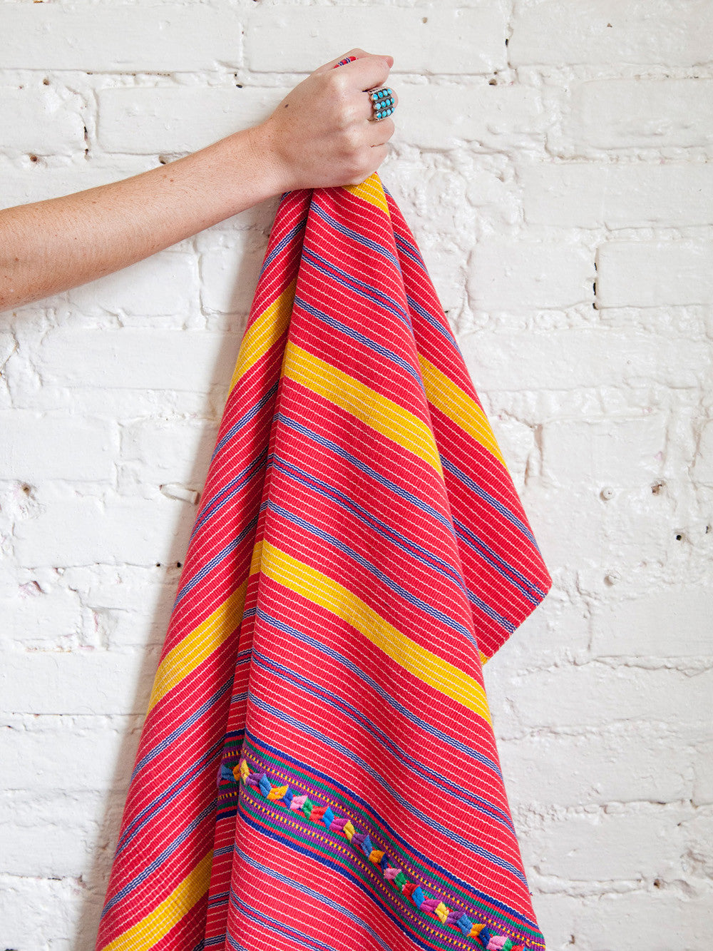 Vintage Guatemalan Red Throw Blanket