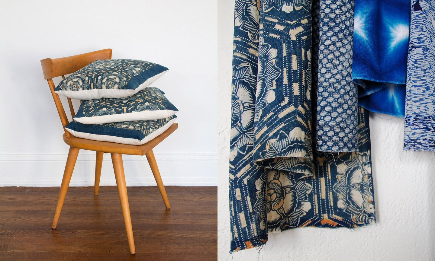 the rich and strange japanese indigo pillows