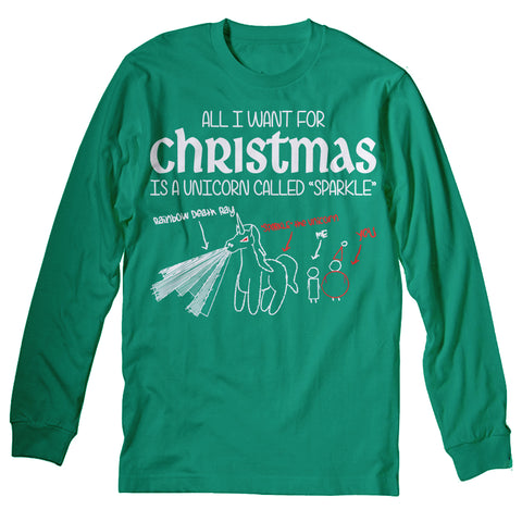 All I Want For Christmas - UNICORN NAMED SPARKLE-Long Sleeve