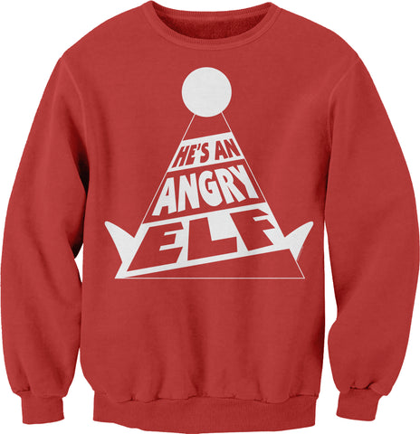 He's An ANGRY Elf - 002 - Ugly Christmas Sweater Party-SweatShirt