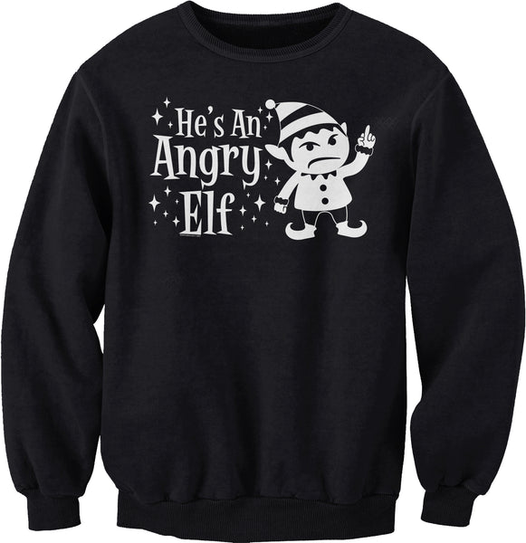 He's An ANGRY Elf - 003 - Ugly Christmas Sweater Party-SweatShirt