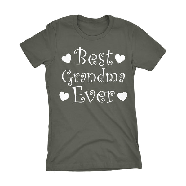 Best GRANDMA Ever - Hearts 001LDS - Mother's Day Grandmother Ladies Fit T-shirt
