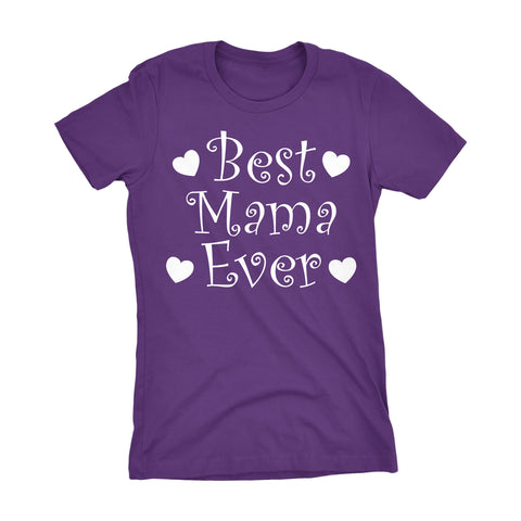 Best MAMA Ever - Hearts 001LDS - Mother's Day Mom Ladies Fit T-shirt