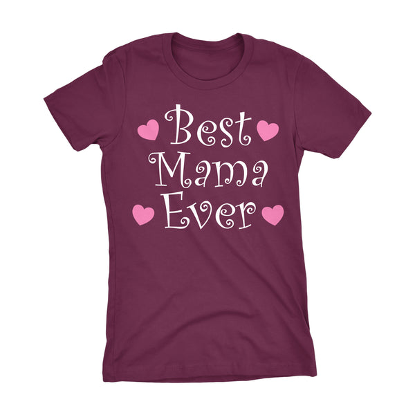 Best MAMA Ever - Hearts 002LDS - Mother's Day Mom Ladies Fit T-shirt