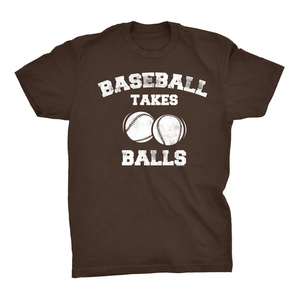 BaseBall Takes Balls - Distressed Print -  Funny Sports Pun Gift T-Shirt