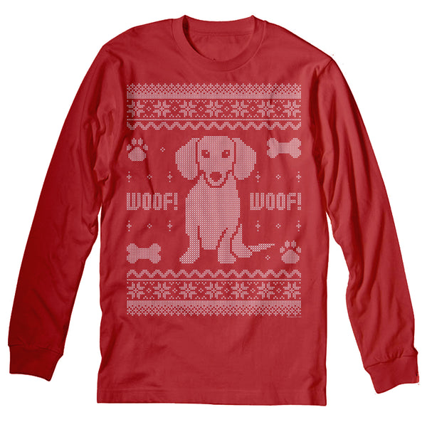 Dachshund Sweater 002 - Weenie Dog Christmas Sweater Party - Long Sleeve