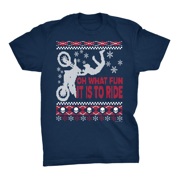 ShirtInvaders Oh What Fun It Is To Ride - Dirt Bike Christmas Sweater - T-Shirt