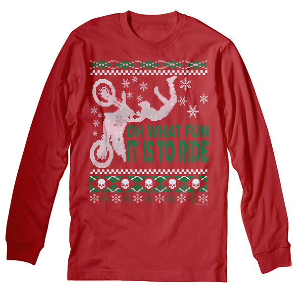 ShirtInvaders Oh What Fun It Is To Ride - Dirt Bike Christmas Sweater - Long Sleeve