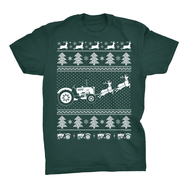 Farmer's Fight - Tractor Christmas Sweater Style - T-Shirt