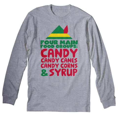 Four Main Food Groups: Candy Candy Canes Candy Corns & Syrup-Long Sleeve