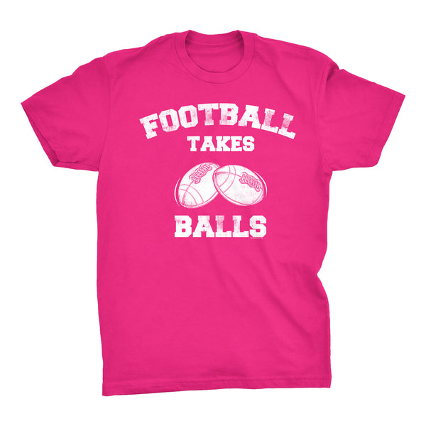 Football Takes Balls - Distressed Print -  Funny Sports Pun Gift T-Shirt