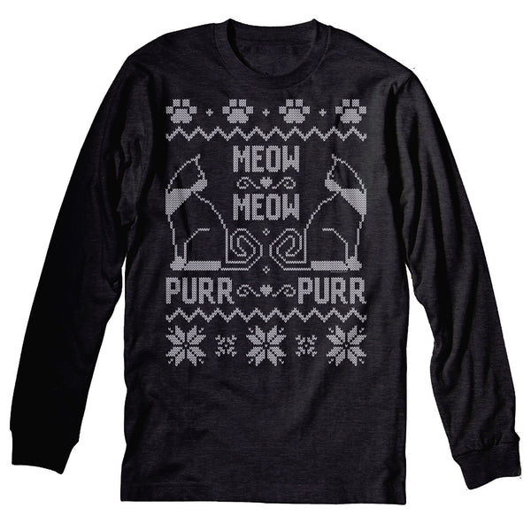 Meow Meow Purr Purr - Cat Christmas Sweater Gift - Long Sleeve
