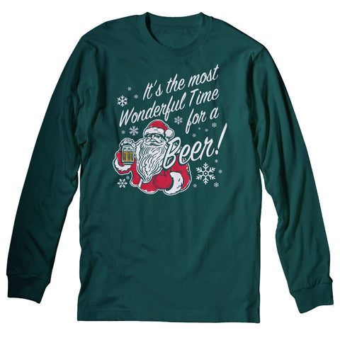 Wonderful Time Beer Santa - Christmas Long Sleeve Shirt