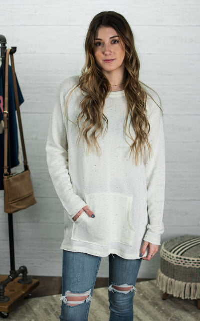 Edgy Speckled Raglan Sweatshirt