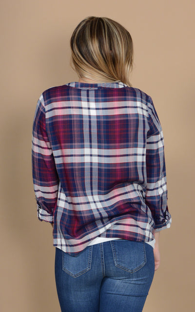 Lacy Cinched Plaid Top