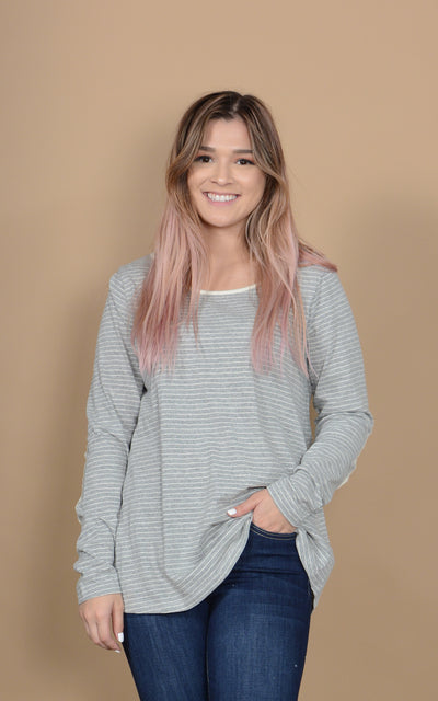 Patched Pinstripe Layering Top