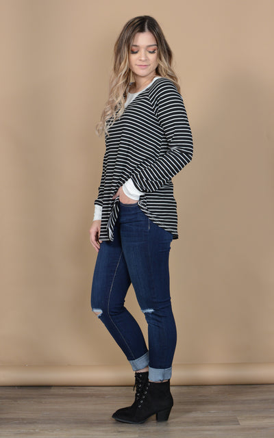 Pin Up Henley Long Sleeve Top
