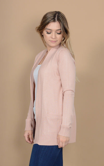 Plush Pink Basic Cardigan