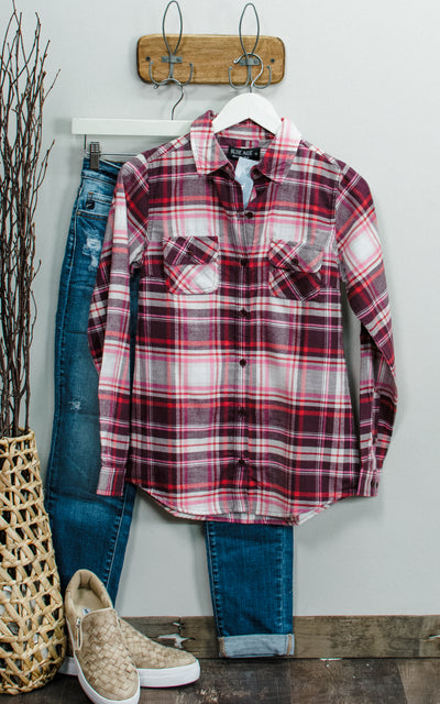 Raspberry Flannel Shirt