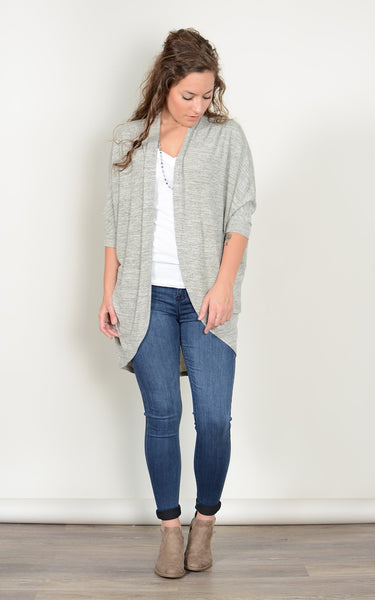 Rounded Oatmeal Open Cardigan