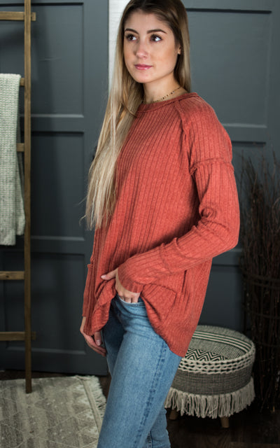 Spicy Rust Ribbed Top