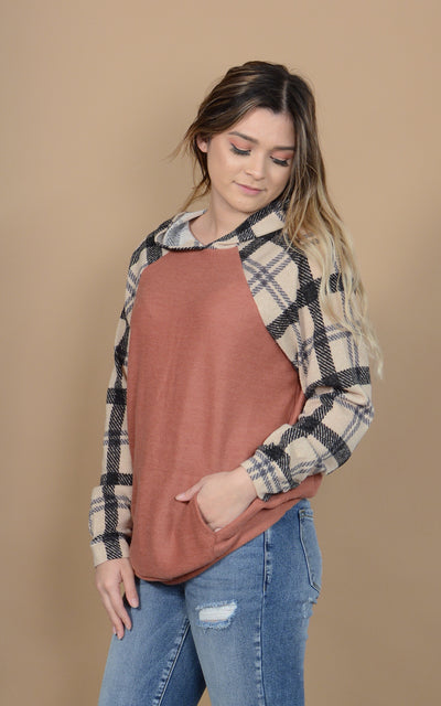 Spruce Plaid Hooded Sweater