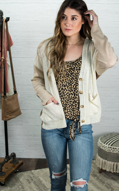Three Tone Button Cardigan