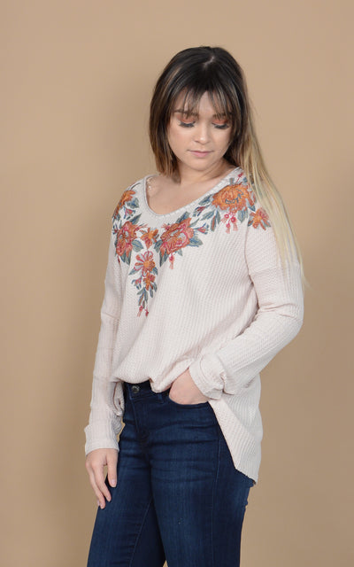 Urban Embroidered Waffle Top