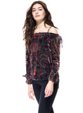 Ecru Off The Shoulder Velvet Burnout Top - The Red Toad Boutique