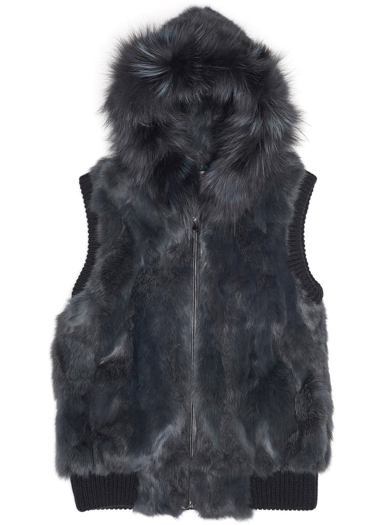Long Hair Rabbit and Silver Fox Vest - Charcoal - The Red Toad Boutique