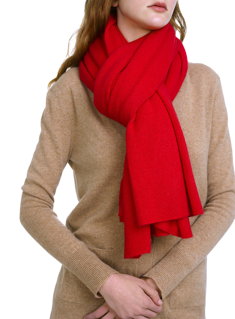 White + Warren Cashmere Travel Wrap - Holly Red Heather - The Red Toad Boutique