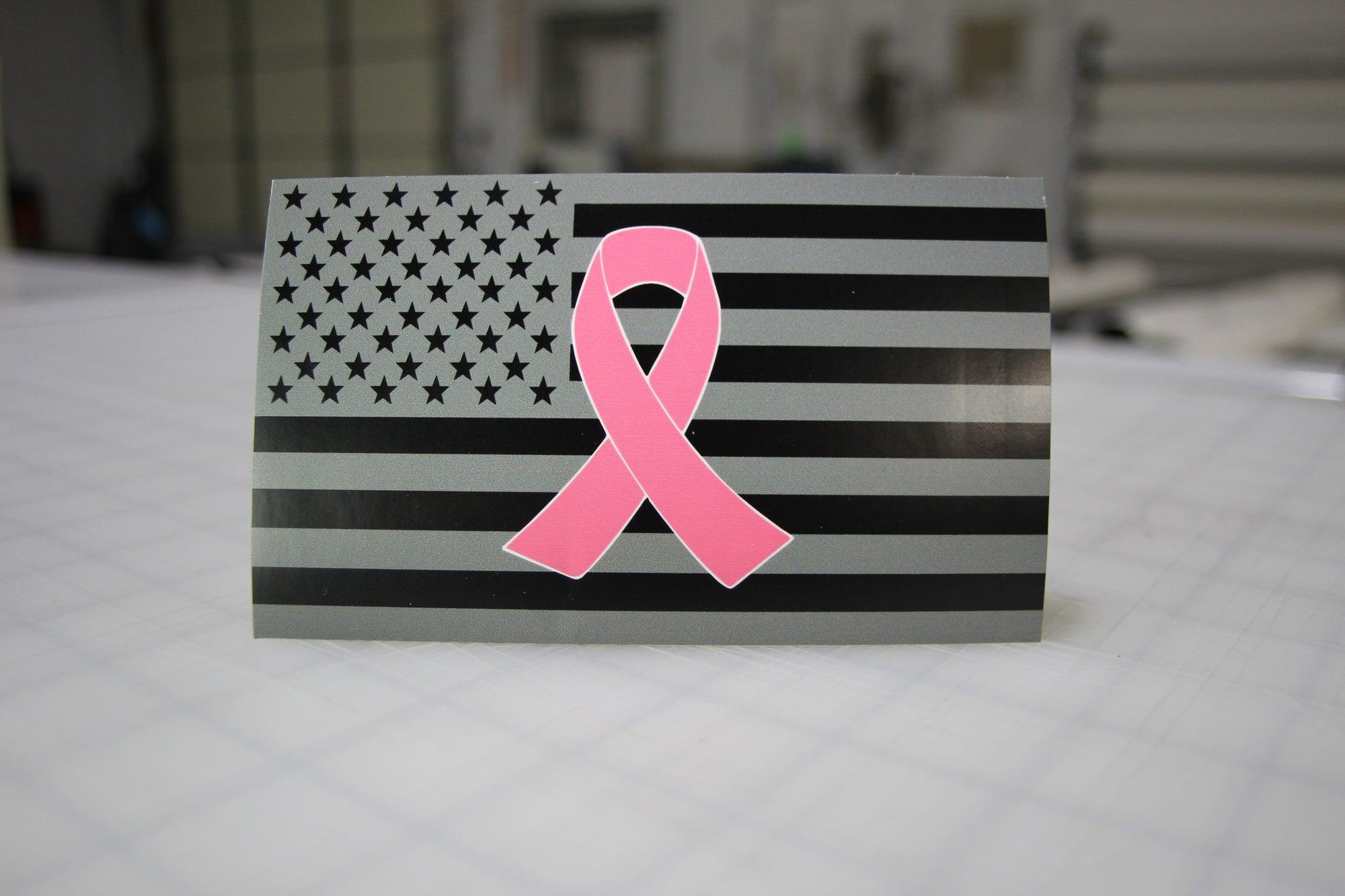 Black & Gray American Flag w/Pink Breast Cancer Ribbon