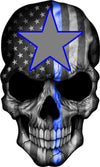 Thin Blue Line Texas Star Skull 5x8