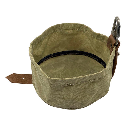 Waxed Canvas Travel Dog Bowl