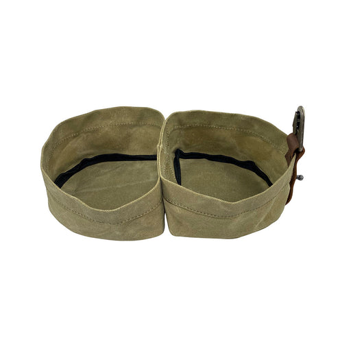 Waxed Canvas Travel Double Dog Bowl